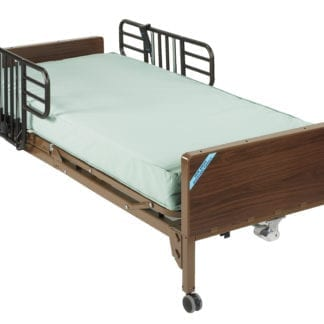 Drive- Semi Electric Hospital Bed 15004BV-PKG-1-T with Theraputic Support Mattress & Half Rails