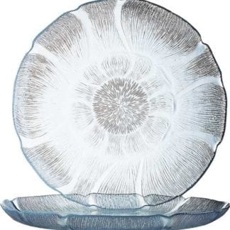 "Clear Fleur Dinner Plates 10"", Clear Floral Embossed Dinner Plates"