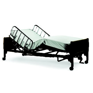 Invacare- Semi-Electric Bed,Single Crank Hi-Lo, Full Length Bed Rails, Economy Foam Mattress BED32