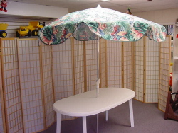 Patio Table with Umbrella and Stand, 6ft Patio Table with Umbrella