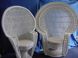 Peacock Chair, White Wicker