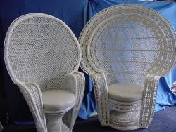 Peacock Chair, White Wicker