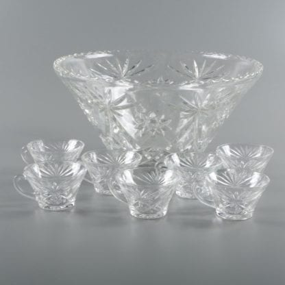 Punch Bowl w/ Ladle and 8 cups, Glass Punch Bowl