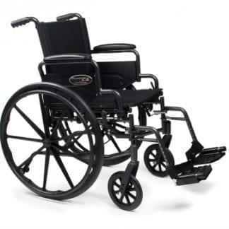 GF- E&J Wheelchair Traveler L4 18x16 Flip Back Desk Arm, Elevating Legrest 3F020130