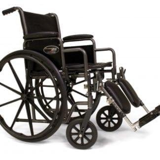 GF-E&J Wheelchair Traveler SE, 18x16 Detachable Desk Arm, Swingaway Footrest 3E010120