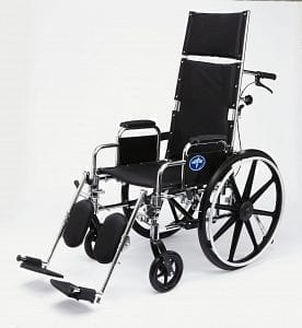 "Medline- Excel Reclining Wheelchair 22"" DLA, ELR. MDS808650"