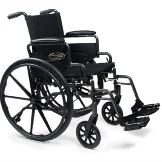 GF-E&J Wheelchair Traveler L4 18x16 Flip Back Desk Arm, Swingaway Footrest 3F020120