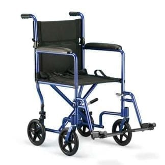 """Invacare- Lightweight Aluminum Transport Chair 17"""" x 16"""" Frame with Permanent Arm and 8"""" Wheels and Footrest LTTB17FR"""