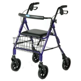 Invacare- Rollator Easy-to-operate, ergonomic hand brakes lock the rear wheels for security, curved backrest. 65650( R)