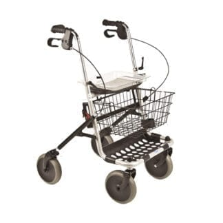 Invacare- Four-Wheel Rollator Easy-to-operate, ergonomic hand brakes lock the rear wheels for security, No backrest. 65550