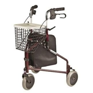 Invacare- 3-Wheel Rollator with tote bag, basket and food tray. P429/2