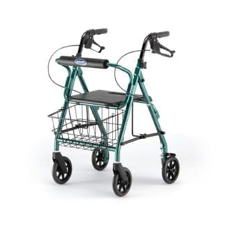 Invacare- Junior Rollator Easy-to-operate, ergonomic hand brakes lock the rear wheels for security, Straight Backrest Green 65350GR