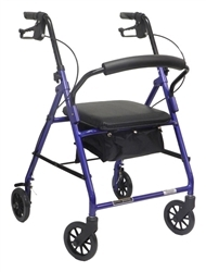 """Temcare- 4-Wheel Aluminum Rollator with Padded Seat, 6"""" Casters"""