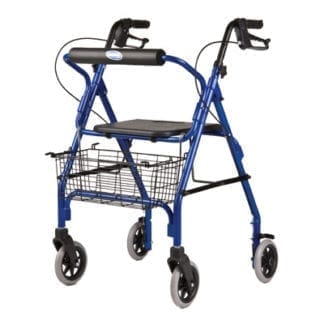 Invacare- Adult Rollator Easy-to-operate, ergonomic hand brakes lock the rear wheels for security. Straight Backrest 65851(R or B)