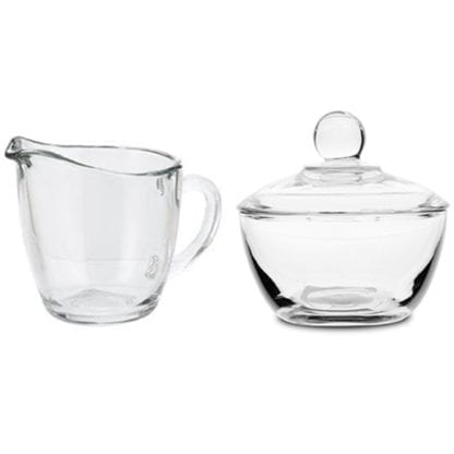 Sugar Bowl and Creamer Set, Glass Sugar bowl and creamer